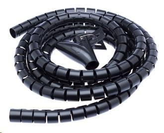CONNECT IT trubice pro vedení kabelů WINDER, 1,5m x 30mm černá (organizér kabelů)