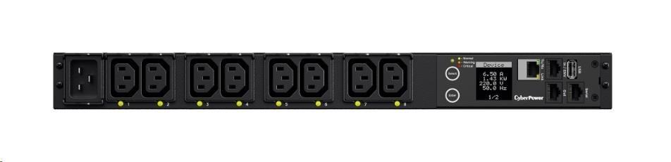 CyberPower Rack PDU, Switched, 1U, 16A, (8)C13, IEC C20