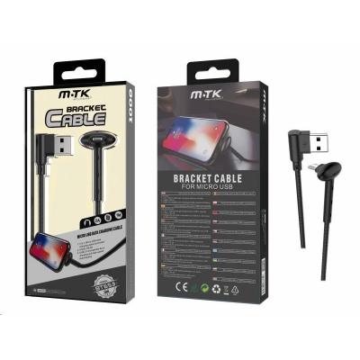 PLUS datový a nabíjecí kabel BT653, konektor micro USB, délka 1m, 2A, funkce stojánku, černá