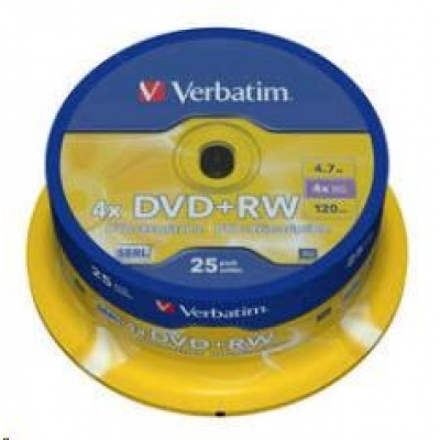 VERBATIM DVD+RW(25-Pack)Spindle/4x/DLP/4.7GB