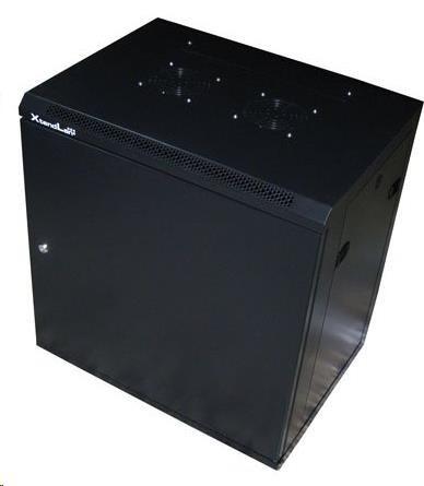 """XtendLan 19"""" jednodílný nástěnný rozvaděč 12U,šířka 600mm, hloubka 450mm, plné dveře,úprava proti vykradení,nosnost 60kg"""