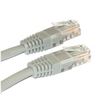 Patch kabel Cat5E, UTP, křížený - 1m, šedý