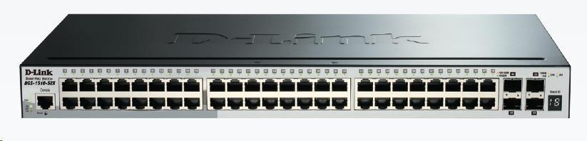 D-Link DGS-1510-52X 52-Port Gigabit Stackable Smart Managed Switch, 48x gigabit RJ45, 4x 10G SFP+