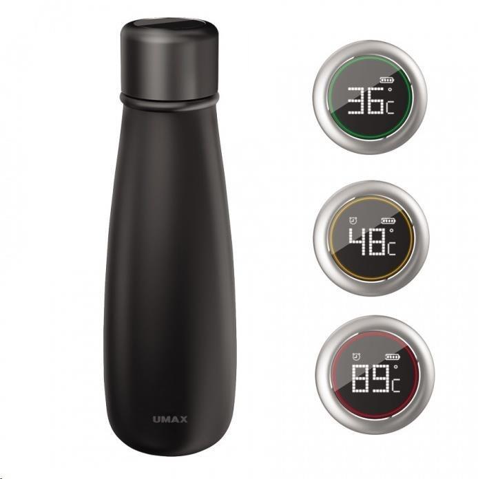UMAX láhev Smart Bottle U4 chytrá láhev - obsah 400ml, hlídání teploty a pitného režimu, LCD dotyk, nabíjení přes USB
