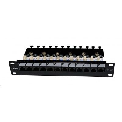 "10"" Patch panel EXCLUSIVE osazený 12port, UTP, Cat 6, s hřebínkem"